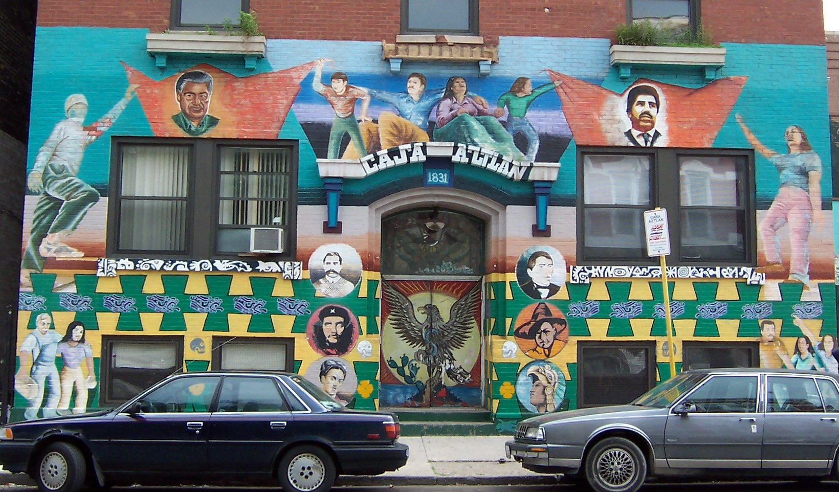 Photo of mural on La Casa Aztlan building in Chicago